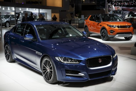 Jaguar XE and Land Rover Discovery Sport at the 2014 Paris Auto Show