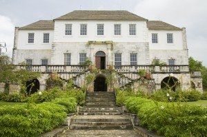 Rose Hall Great House, set on a hillside in Montego Bay with a panorama view over the coast.