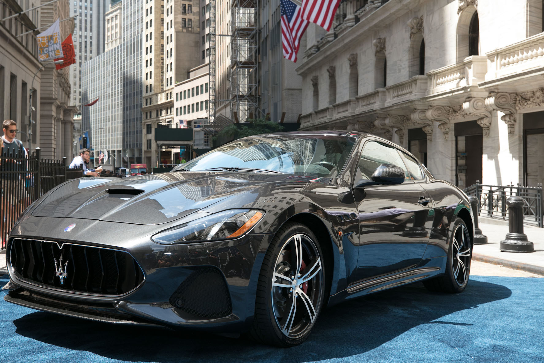 maserati has chosen the new york stock exchange as the venue to unveil the model year 2018 granturismo mc with its restyled exterior in grigio granito