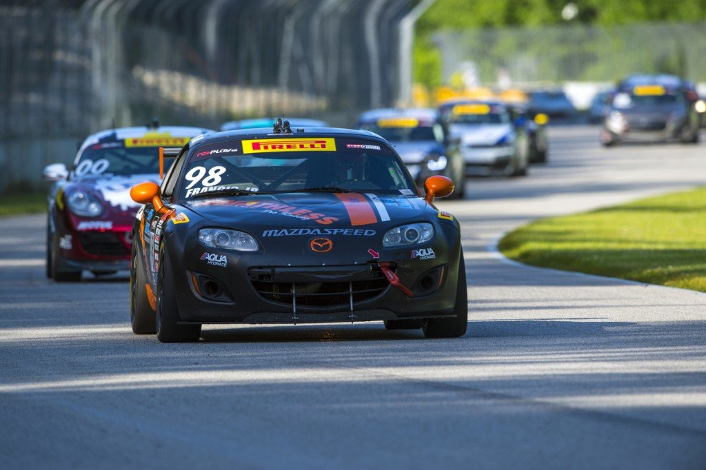 Elkhart Lake, WI - Jun 27, 2015: Pirelli World Challenge teams take to the track on Pirelli tires for a practice session for the Pirelli World Challenge at Road America in Elkhart Lake, WI.