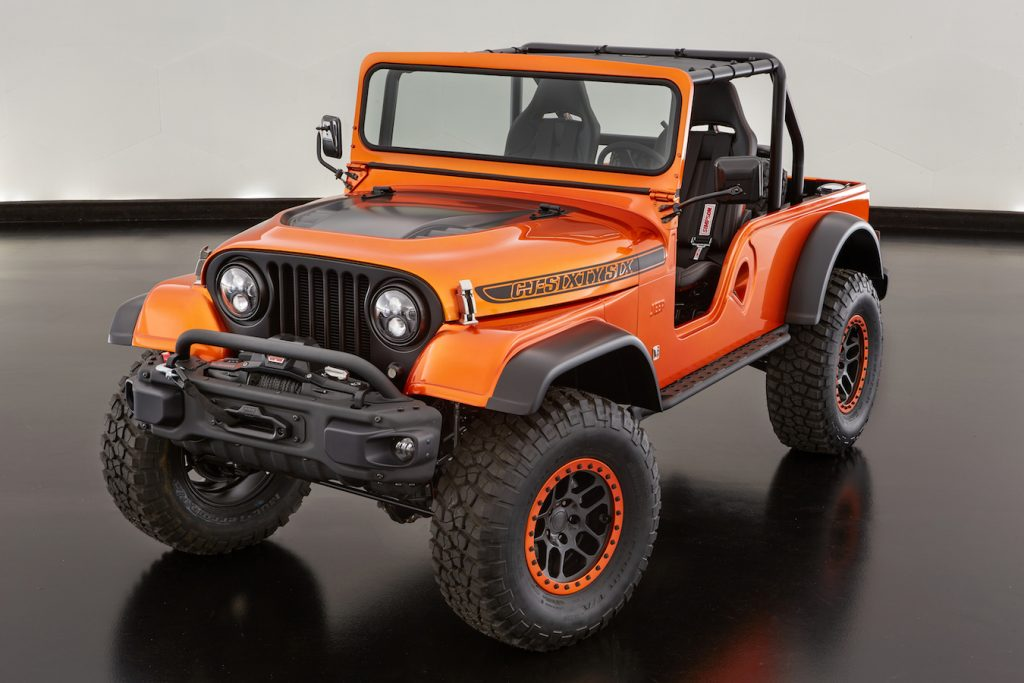 The Jeep® CJ66, a unique cocktail of three Jeep® Wrangler vehicle generations, is powered by a Mopar 345 Crate HEMI® Engine Kit-enabled 5.7-liter HEMI® powerplant.