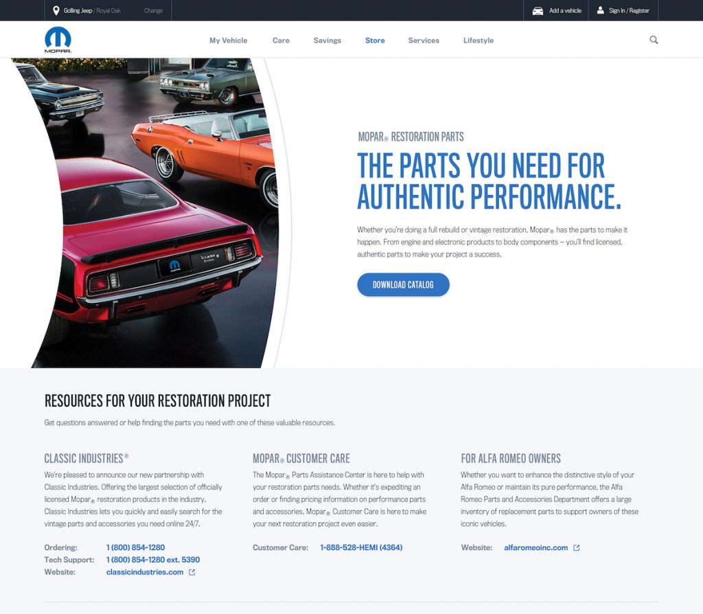 Mopar announced at the Specialty Equipment Market Association (SEMA) Show in Las Vegas a new restoration parts web resource, www.Mopar.com/restoration. The resource will connect enthusiasts with more than 45 approved Mopar restoration parts licensees and more than 9,000 products to assist in restoring classic vehicles.